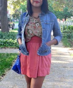 floral pattern and denim skirt summer outfit