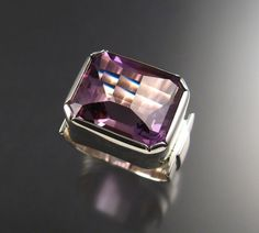 Amethyst men's ring extra large Sterling by stonefeverjewelry, $425.00