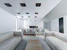 Interiér domu VYS je riešenie priesturu kuchyne s integrovanou jedálňou a obývacou izbou. Interiér kuchyňe s jedálenským stolom je ideálne využitý priestor.