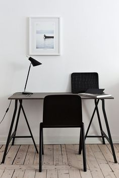 minimal home study with black chair