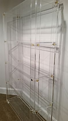 Ask this seller from Artfire/Matthew James designs to custom make a size for me? Handcrafted Clear Lucite/Acrylic Bookshelf with Button Accents Lucite Furniture, Acrylic Furniture, Art Deco Furniture, Furniture Design, Bookshelves, Bookcase, Buy Furniture Online, Furniture Stores, Home Accessories