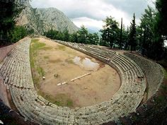 Stadium (Delphi)- washed stone stairs would add a Greek feel, left open they would still have a contemporary edge. Ancient Greek Architecture, Historical Architecture, Greco Persian Wars, Delphi Greece, Stone Stairs, Greek Art, Ancient Greece, Greek Islands, Deities
