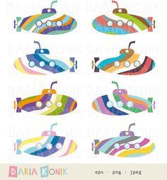 Rainbow Submarines Clip Art Set-colorful submarines by dariakonik