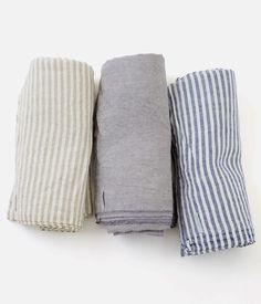Linen Chambray Towel: Grey
