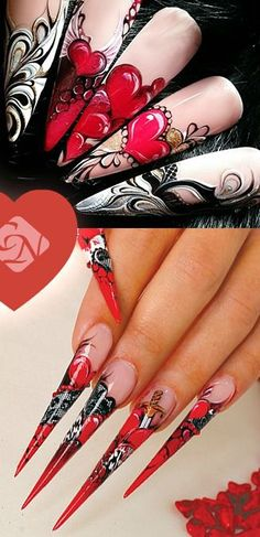 #heart #nails #valentine Creative Nail Designs, Beautiful Nail Designs, Creative Nails, Acrylic Nail Designs, Nail Art Designs, Nails Design, Trendy Nails, Cute Nails, Zebra Print Nails