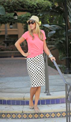 tie a little knot in your tee with a pencil skirt.  Cute & easy!  via Perfection Possibilities