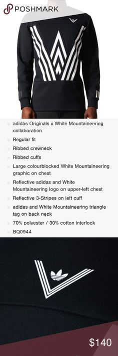 Adidas x White Mountaineering Crew Sweatshirt Sz S Sold out in stores & online!  NWT men's size small 100% authentic adidas x White Mountaineering collaboration sweatshirt. Black and white in color. Adidas x White Mountaineering Shirts Sweatshirts & Hoodies