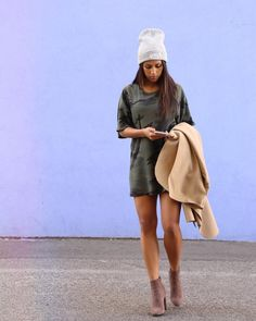 c251972367 Camo t-shirt dress with some ankle booties and beanie  ) Going Out