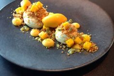 Mango and passion fruit cheesecake by Daniel Fletcher in Great British Chefs Passionfruit Cheesecake, Mango Cheesecake, Cheesecake Recipes, Dessert Recipes, Mango Parfait, Fruit Parfait, Passion Fruit Curd, Coconut Sorbet, Great British Chefs