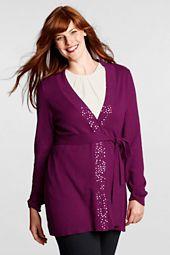 Women's Plus Size Sequin V-neck Tie Cardigan