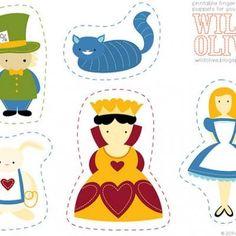 so cute fingerpuppets, alice in wonderland printables
