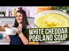 Roasted Poblano White Cheddar Soup is total comfort food! The smokey warmth of poblano peppers mixes with sharp cheddar and the perfect spices in this creamy, flavorful soup that is worthy of a restaurant! Stuffed Poblano Peppers, Stuffed Pepper Soup, Stuffed Poblanos, Keto Cheese, Cheese Soup, Chicken Poblano Soup, White Cheddar Poblano Soup Recipe, Chicken Soup, Mexican Food Recipes