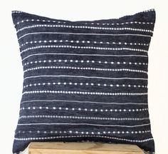 denim blue linen white embroidered pillows embroidered pillow covers geometric pillow blue cushions