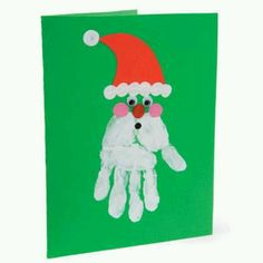 Simple Christmas DIY Crafts for Kids - christmas handprint art – Bing Images - Christmas Card Crafts, Christmas Activities, Christmas Art, Christmas Projects, Holiday Crafts, Xmas Cards, Father Christmas, Simple Christmas, Toddler Christmas