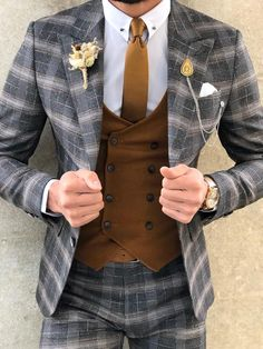 Available Size: Suit Material: viscose, polyester, elestan Machine Washable: No Fitting: Slim-Fit Cutting: Double Slits, Double Button Package Include: Suit Clothes: Jacket and Pants Slim Fit Tuxedo, Slim Fit Suits, Tuxedo Suit, Plaid Suit, Suit Vest, Mens Fashion Suits, Mens Suits, Men's Fashion, Groom Suits