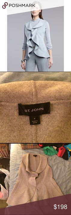 """St. John ruffle-front angora blend vest Absolutely stunning. Color most accurate in first photo. St. John incredibly soft jacket vest. Beautiful ruffle detailing. Front pockets. 55% angora 32% wool 10% nylon 3% cashmere. Worn twice, immaculate condition. This is a total bargain! Length 28"""" pit to pit approx 20"""" St. John Jackets & Coats Vests"""