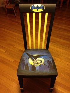 Adult custom ordered, hand painted wooden chair. Batman the dark night. Batman looking over Gothem city. Batman gaming chair/kitchen chair.