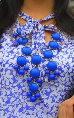 Blue and White Printed #Dress