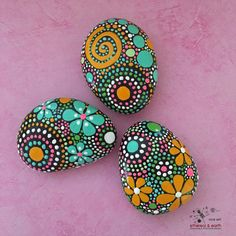 Hand Painted River Rocks Mandala Inspired Design Painted