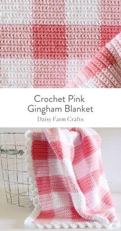 Free Pattern - Crochet Pink Gingham Blanket