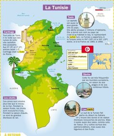 La Tunisie Ap French, French Words, Learn French, French Teaching Resources, Teaching French, Infographic Creator, Pays Francophone, Medical Mnemonics, Geography Map