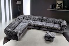 Divani Casa Metropolitan - Transitional Fabric Sectional Sofa & Ottoman