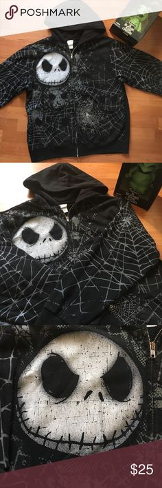 Jack Skelington Hoodie Black Jack Skelington hoodie from the movie The Nightmare Before Christmas, all black with spiderweb details all over as show , worn once, hooded, two front pockets, zip up, 64% cotton Disney Sweaters Zip Up