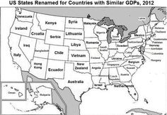 The map compares the GDP of U.S. states with other the national GDPs of other nations.  Read more: http://www.businessinsider.com/countries-vs-us-states-gdp-map-2014-2#ixzz3KglRk2PB