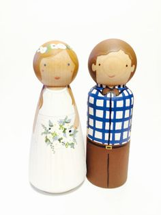 Wooden Peg Doll Wedding Cake Toppers Hand Painted Custom