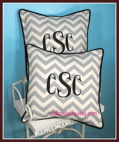 Set of Two Chevron Large Font Monogrammed Pillow by calicodaisy, $84.00 #home dec #bedroom