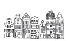 An incredibly cute drawing of buildings / the Amsterdam skyline! - architecture and art - An incredibly cute drawing of buildings / the Amsterdam skyline! Black And White Building, Town Drawing, Cartoon Drawings, Drawings, Building Illustration, Line Illustration, Black And White Drawing, City Drawing, House Illustration