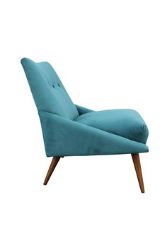 Peacock Velvet Mid-Century Modern Chair   From a unique collection of antique and modern slipper chairs at https://www.1stdibs.com/furniture/seating/slipper-chairs/