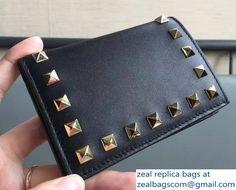 Valentino Calfskin Rockstud Flap Card Holder Wallet Black