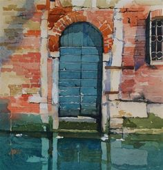 """The Blue Door - Venice"" - Original Fine Art for Sale - © David Morris"