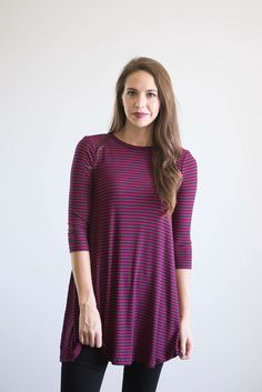 $28.00 The Fall Striped Carly Blouse in Maroon