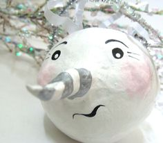 Snowman Christmas Folk Art Paper Mache Ornament