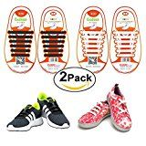 Shackcom No Tie Flat Shoelaces For Kids Men & Women | Waterproof & Stretchy Silicone Tieless Shoe Laces | For Athletic & Dress Shoes Hiking Boots & More | Eliminate Loose Shoelace Accidents