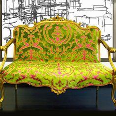 More colour in flocked velvet by Cassaro.