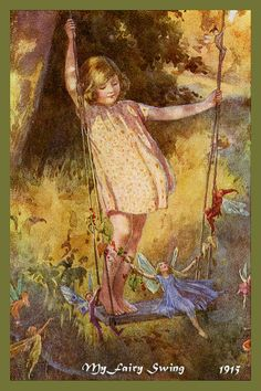 My Fairy Swing by Margaret Tarrant from 1915. Quilt Block of vintage fairy image printed on cotton. Ready to sew.  Single 4x6 block $4.95. Set of 4 blocks with pattern $17.95.