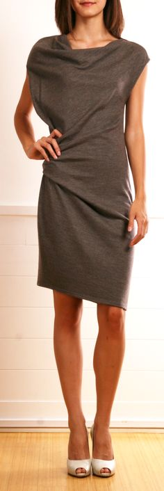 Gray Sonar Draped Wool Jersey Dress