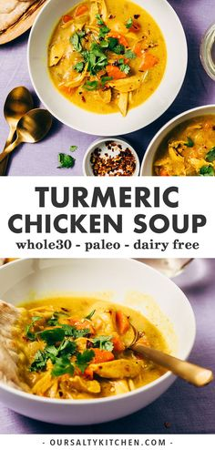 Crank your paleo soup game up a notch with this turmeric chicken soup! The tang and spice of fresh turmeric root really shine in this easy soup recipe. It's naturally gluten-free, paleo, and compliant and a delicious way to… Continue Reading → Roast Chicken Recipes, Healthy Soup Recipes, Real Food Recipes, Cooking Recipes, Tumeric Chicken Recipes, Healthy Winter Recipes, Roast Chicken Soup, Chicken Soups, Keto Chicken