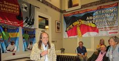 Chips Mackinolty opening his exhibit Social Fabric: banners from the Northern Territory in July 2013