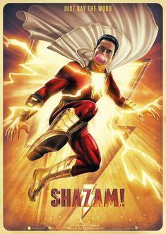 Shazam Movie Poster 18 x 28 Inches Dc Comics Art, Marvel Dc Comics, Marvel Avengers, Shazam Movie, Captain Marvel Shazam, Dr Fate, Best Movie Posters, Superhero Movies, Comic Movies