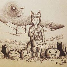 A little pre-halloween biro scribble! #halloween #spooky #inktober #biro #handdrawn #pen #biroart #sketch #doodle #scribble #art #drawing #illustration #wolf #pumpkin #cat #artlovers #creative #artwork #boy