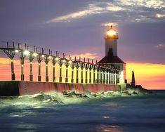 Lighthouse at Michigan City, IN.  Love this beach.