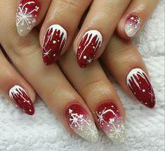 Xmas nail art, nail art noel, xmas nails, winter nail designs, winter n Nail Art Noel, Xmas Nail Art, Cute Christmas Nails, Xmas Nails, Winter Nail Art, Cool Nail Art, Winter Nails, Red Nails, Winter Christmas