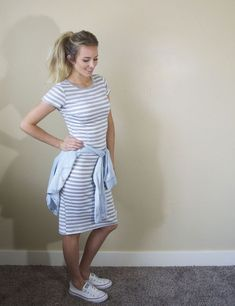 Image result for modest knee length dress and converse