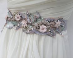 Bridal Sash Wedding Sash In Silver and Blush With Swarovski Crystals, Wedding…