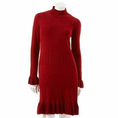 "AB Studio Cable-Knit Sweaterdress - Petite--You are, despite what you think, blessed with ""petite"" bones; therefore, this would fit you in all the right places and curves, and in the right lengths...the kicky skirt is sexy; I could see this with boots and a long ""Woolworth"" set of pearls or jet beads! Want to update it more, wear with sparkly sneakers and a denim jacket a la Lagerfeld for Chanel Pre-Fall 2014!"