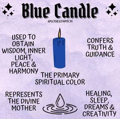 cr: insta @ losillewitch Wiccan Magic, Wiccan Spells, Candle Spells, Magick, Pagan, Witch Spell Book, Witchcraft Spell Books, Blue Candle Meaning, Witchcraft For Beginners
